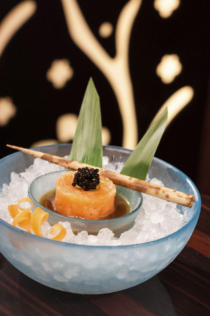 Salmon tartare with caviar at Nobu, Dubai