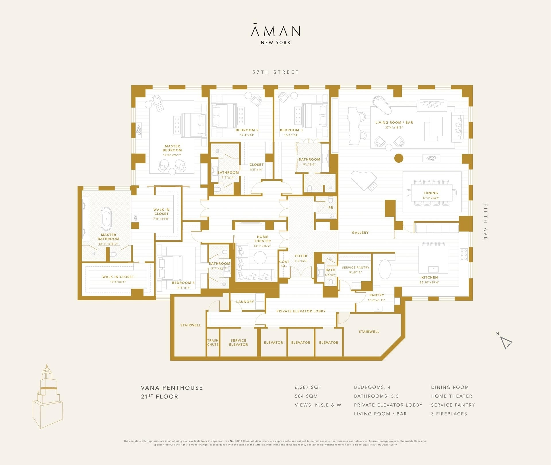 1. Condominiums for Sale at Aman NY Residences, 730 FIFTH AVE , PH21 Midtown West, New York, NY 10019